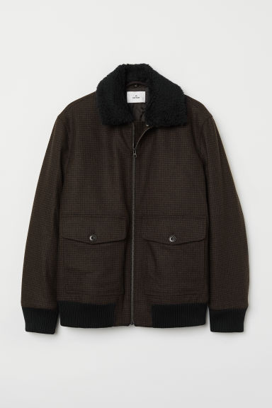 Bomber jacket - Dark brown/Black checked - Men | H&M CN