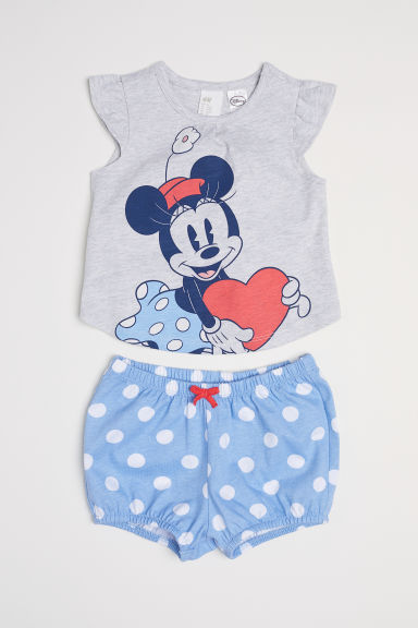 Top and puff pants - Light blue/Minnie Mouse -  | H&M