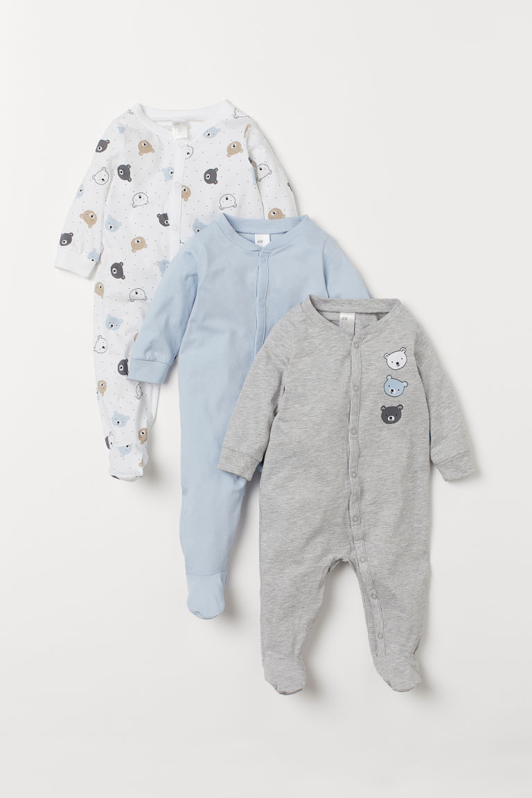 3-pack cotton pyjamas - Light blue/Bears - Kids | H&M IN