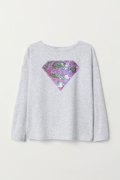 Top with reversible sequins - Light grey marl/Superman - Kids | H&M