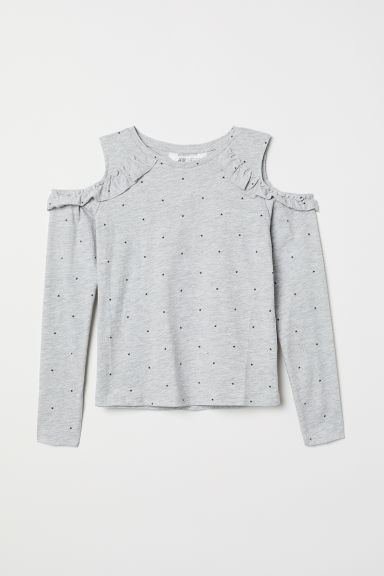 Cold shoulder top - Light grey marl/Stars - Kids | H&M CN