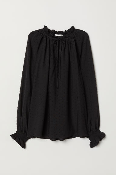 Blouse with Smocking - Black/plumeti - Ladies | H&M US