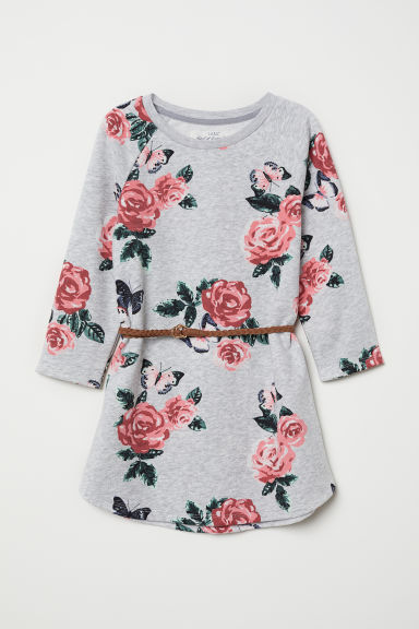 Sweatshirt dress with a belt - Light grey/Floral - Kids | H&M