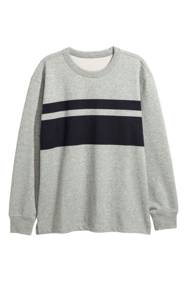 Printed sweatshirt - Grey marl/Black - Men | H&M