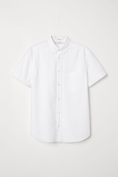 Regular Fit Poplin Shirt - White - Men | H&M CA