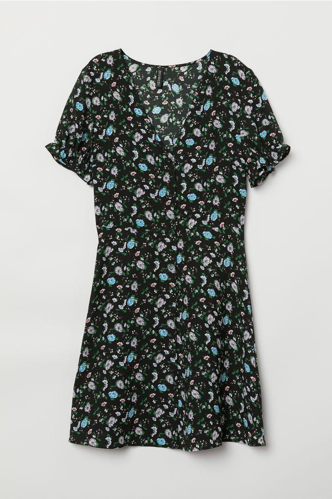 f6ce58633450 Šaty s knoflíky - Černá květovaná - ŽENY