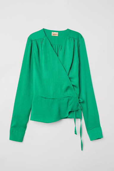 Wrapover blouse - Green - Ladies | H&M CN