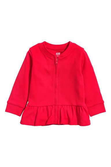 Jersey cardigan with a flounce - Red - Kids | H&M CN