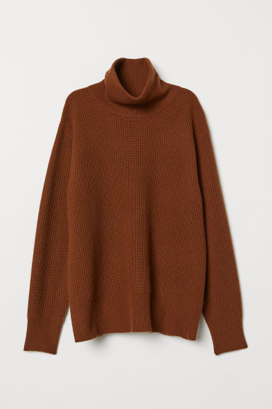 Cashmere-mix polo-neck jumper - Brown - Ladies | H&M IE