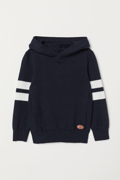 Fine-knit hooded jumper - Dark blue - Kids | H&M