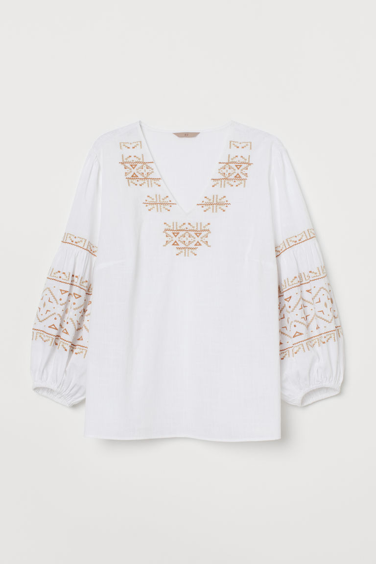 H&M+ Embroidered cotton blouse - White - Ladies | H&M GB