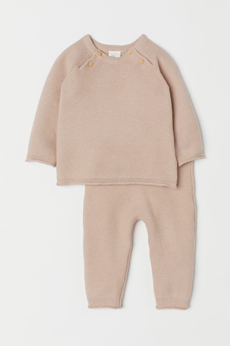 Knitted jumper and trousers - Light beige - Kids | H&M