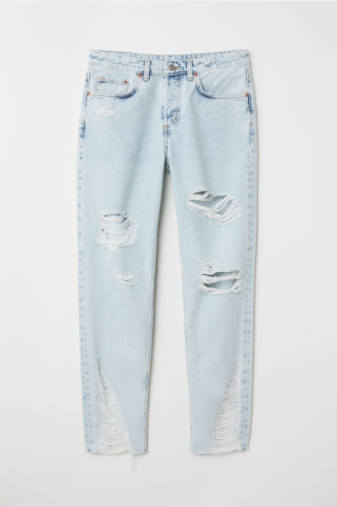ead33ad6e93904 Boyfriend Low Ripped Jeans - Light denim blue - | H&M ...