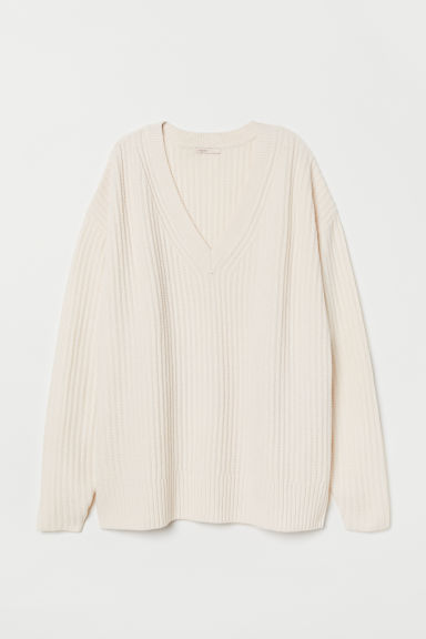 Pullover in lana scollo a V - Bianco naturale - DONNA | H&M IT