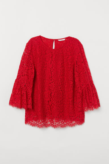 Lace blouse - Red - Ladies | H&M