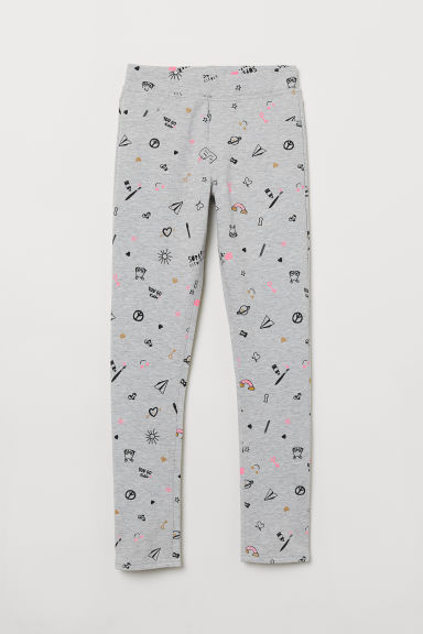 Cotton jersey treggings - Light grey marl/Patterned - Kids | H&M