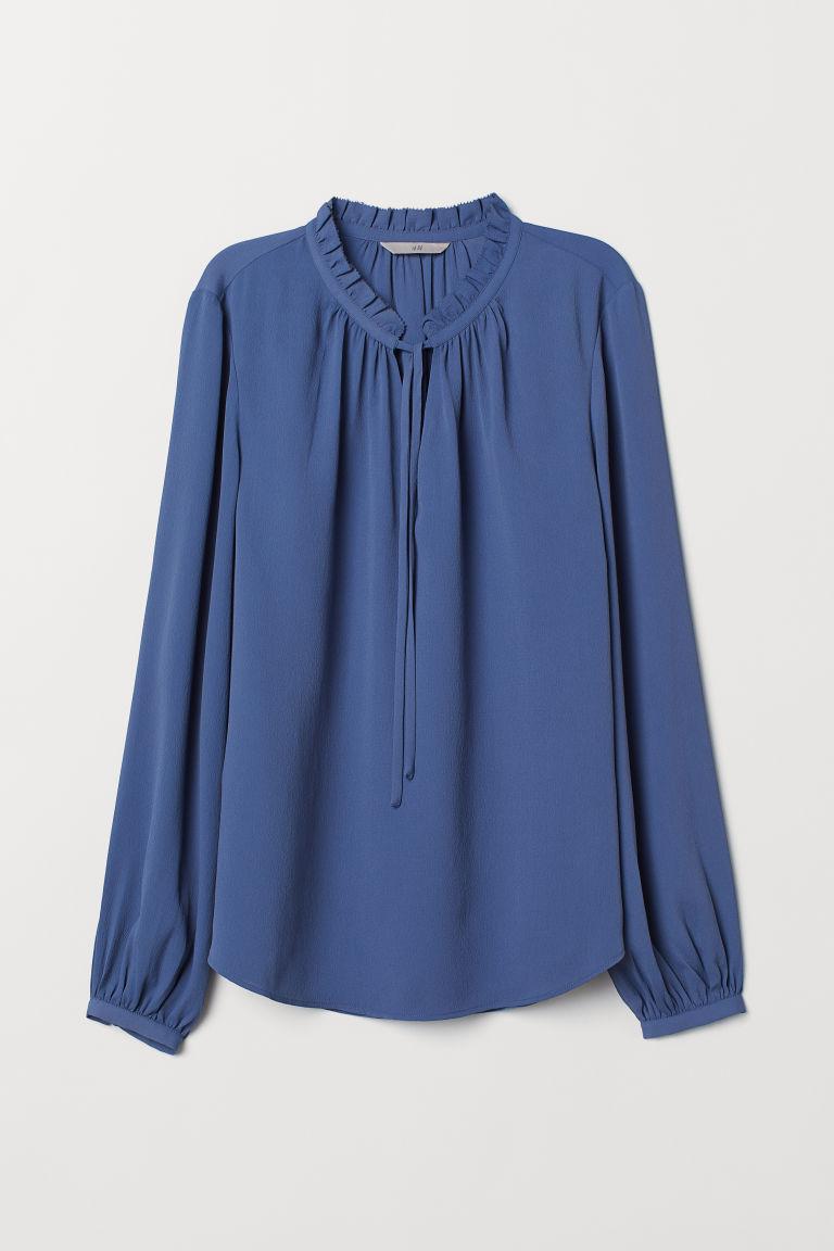 Bluzka z falbanką wokół szyi - Bladoniebieski - ONA | H&M PL 5