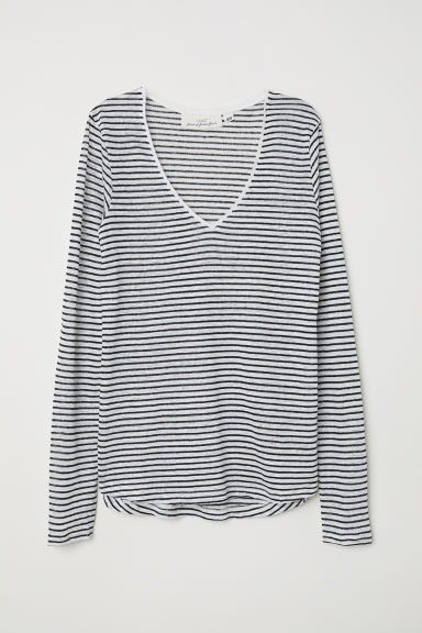Linen top - Natural white/Striped -  | H&M CN