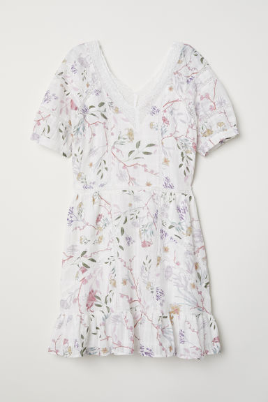 V-neck cotton dress - Natural white/Patterned -  | H&M