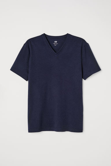 T-shirt met V-hals - Slim fit - Donkerblauw - HEREN | H&M BE