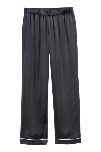 Silk pyjama bottoms - Navy blue -  | H&M