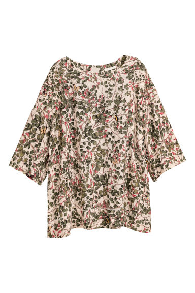 Short-sleeved blouse - Light beige/Patterned -  | H&M IE