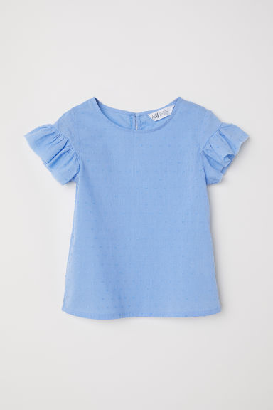 Frill-trimmed blouse - Dusky blue - Kids | H&M