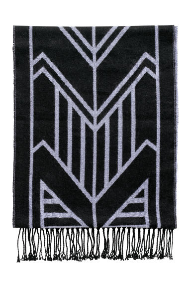 Jacquard-weave scarf - Black/Patterned - Ladies | H&M CN