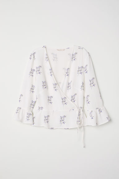 Patterned wrapover blouse - White/Floral - Ladies | H&M CN
