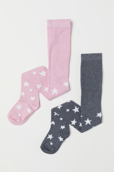 2-pack fine-knit tights - Dark grey/Stars - Kids | H&M