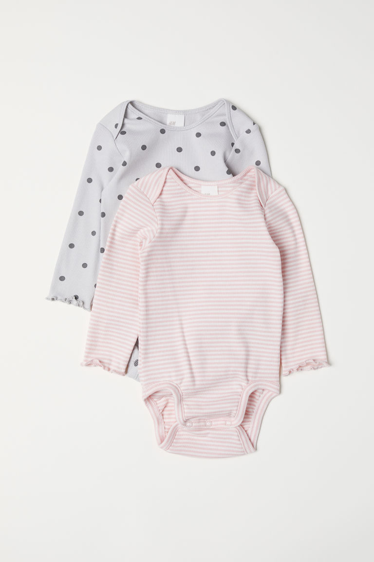 2-pack ribbed bodysuits - Light pink/Striped - Kids | H&M