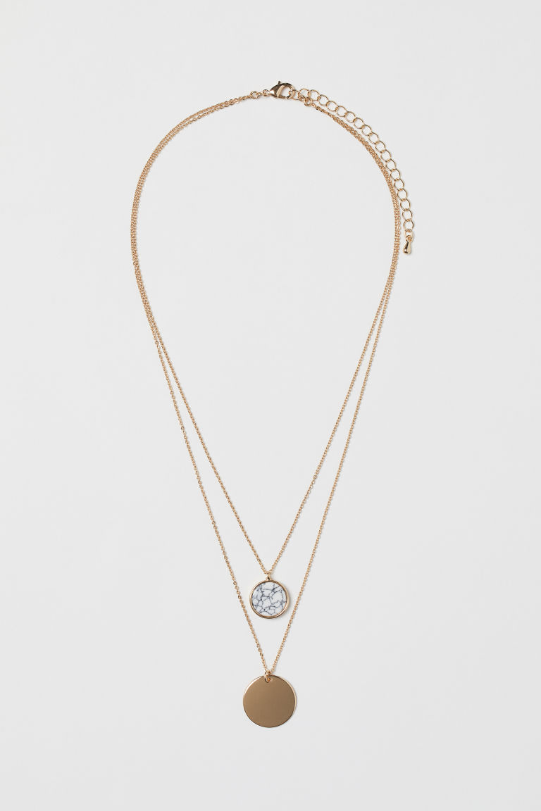 Two-strand necklace - Gold-coloured/White - Ladies | H&M