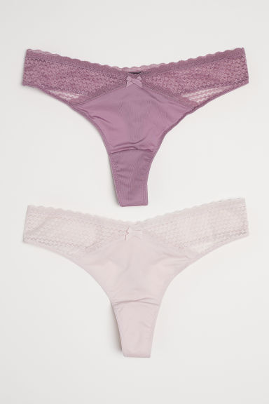 2-pack microfibre thong briefs - Heather - Ladies | H&M CN