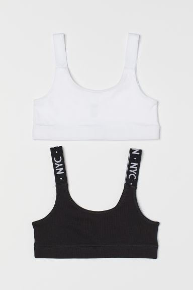 2-pack cotton tops - Black/White - Kids | H&M CN