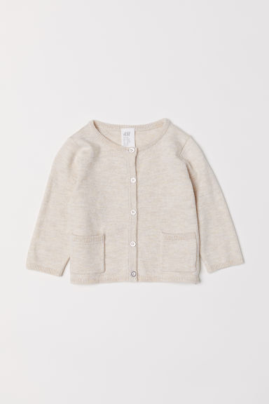 Cardigan with pockets - Light beige marl -  | H&M