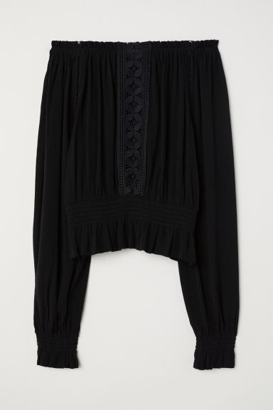 Crinkled blouse - Black -  | H&M CN