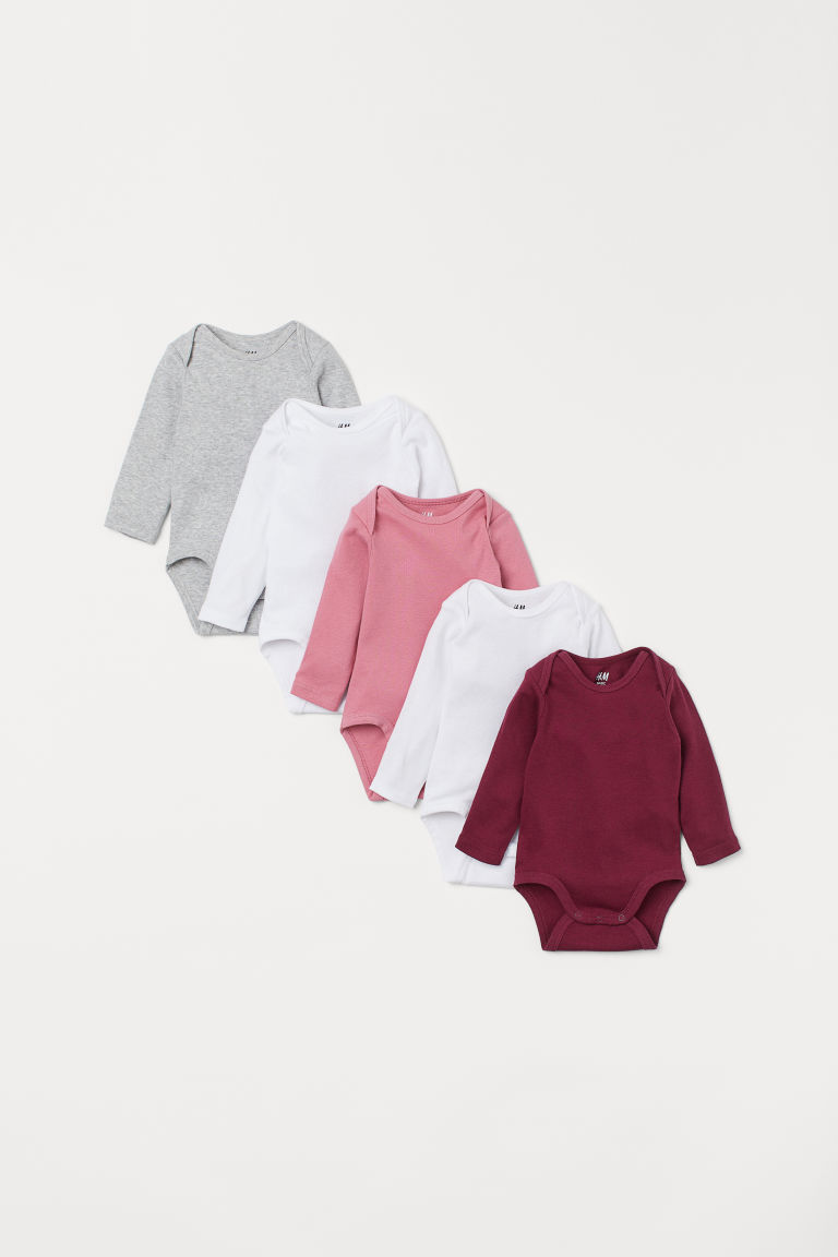 5-pack bodysuits - Dark red/White - Kids | H&M IE