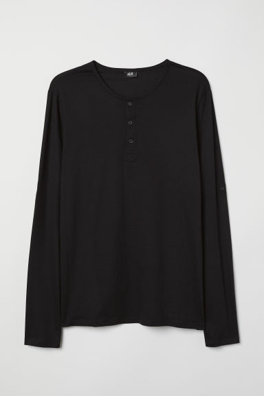 Cotton jersey Henley shirt - Black - Men | H&M CN