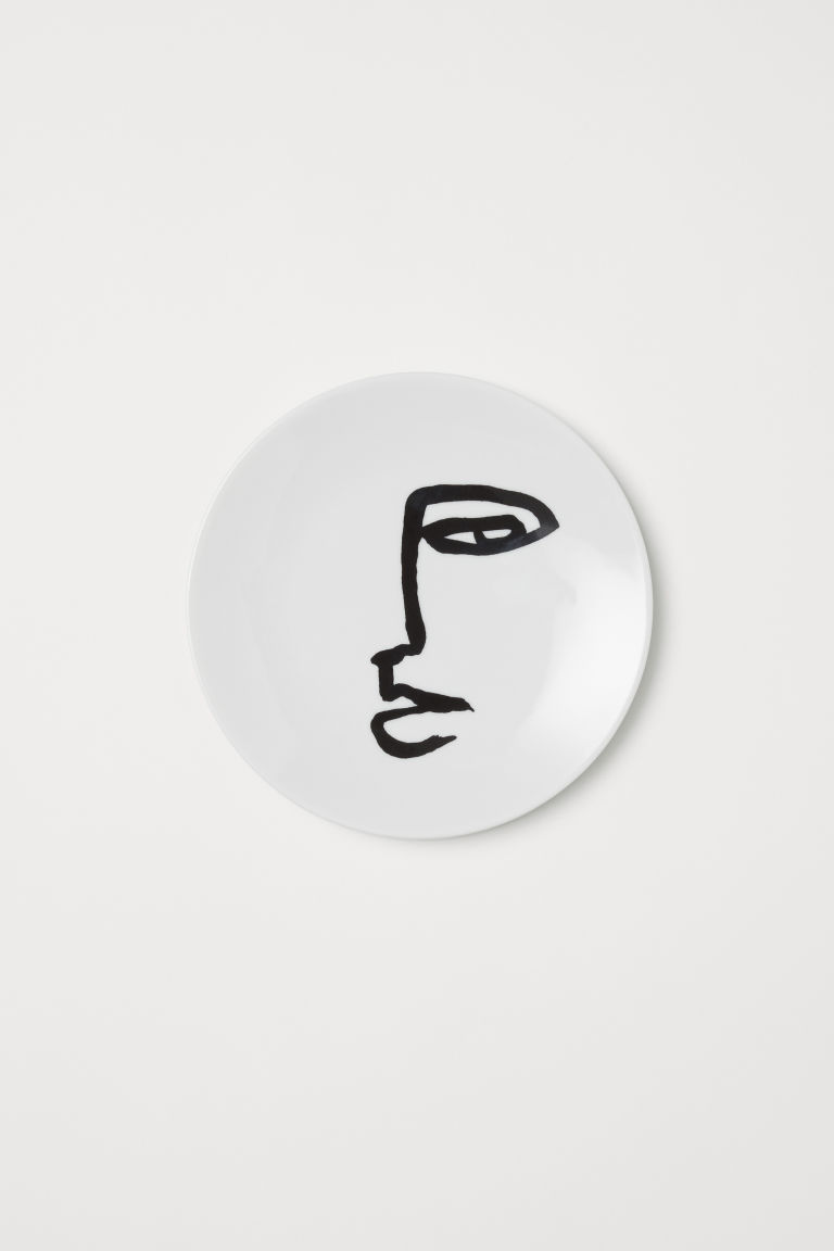 Porcelain plate - White/Face - Home All | H&M GB
