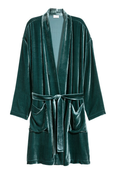 Velvet dressing gown - Dark green -  | H&M CN