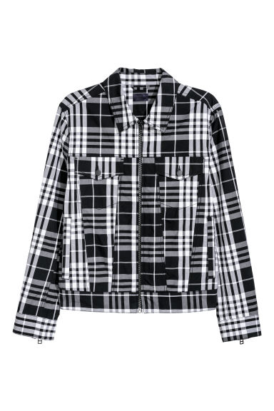 Twill shirt jacket - Black/White checked - Men | H&M