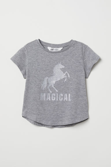 Glitter-print T-shirt - Grey/Unicorn - Kids | H&M