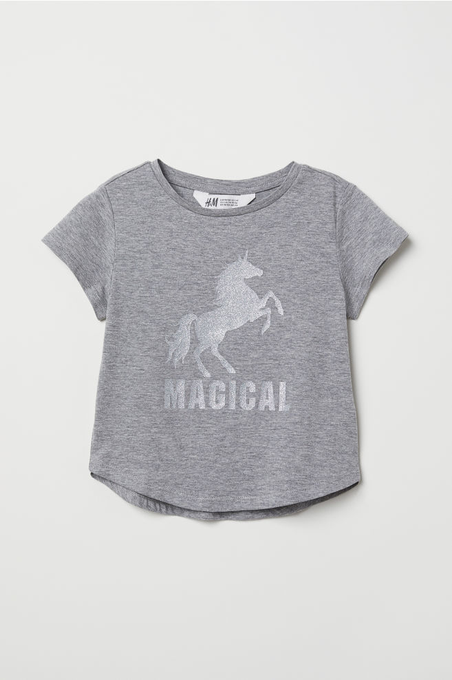 0063e191b Glitter-print T-shirt - Gray/unicorn - Kids | H&M ...