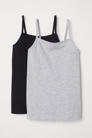 2-pack jersey strappy tops - Light grey marl/Black - Kids | H&M