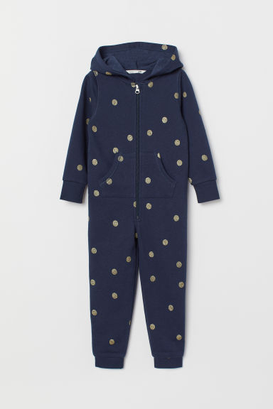 Sweatshirt all-in-one suit - Dark blue/Spotted - Kids | H&M CN