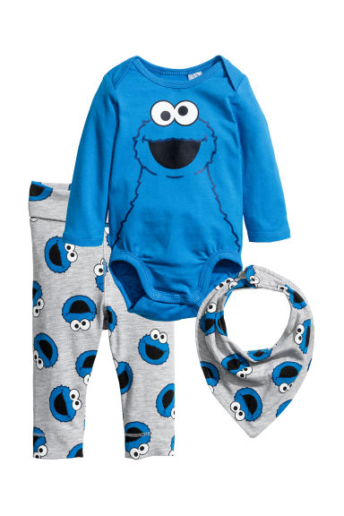 3-piece jersey set - Blue/Sesame Street - Kids | H&M CN