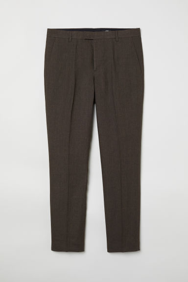Linen suit trousers Slim fit - Dark khaki green - Men | H&M CN