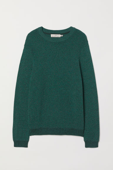 Textured-knit cotton jumper - Dark green - Men | H&M