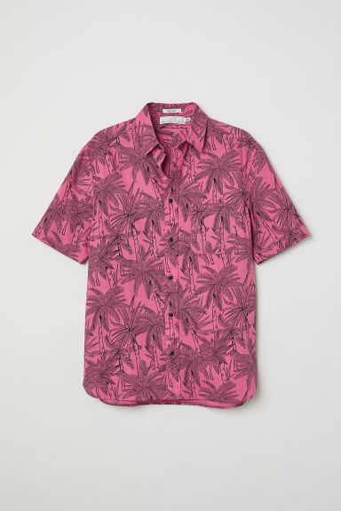 Short-sleeve shirt Regular fit - Pink/Palm trees -  | H&M