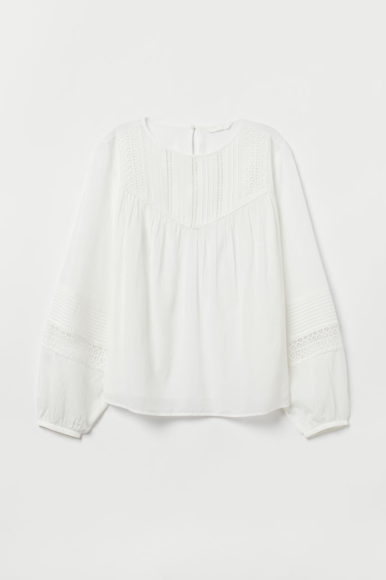 Blouse with pin-tucks - White -  | H&M CN